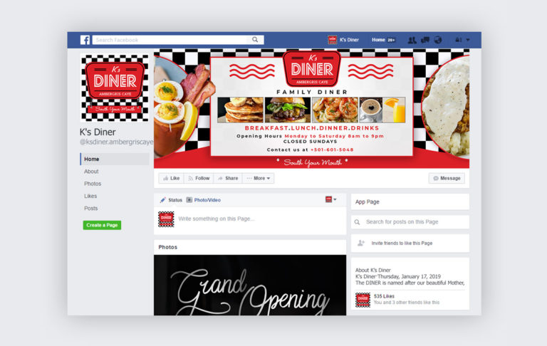 K's Diner Facebook Page Designs